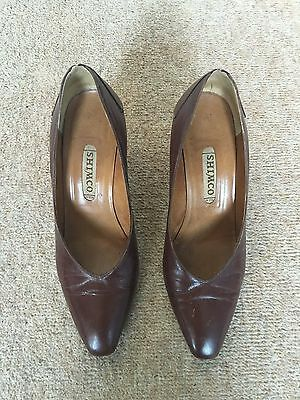 Shimco, Brown, Leather, Shoes. 3 Inch Heel. Size 5.5. Vintage/Indie/Rockabilly.