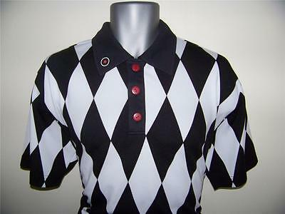 Sale  Funky Jester Black And White Golf Shirt / Top  -RRP £34.95 - Size XL