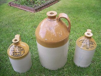 3 VINTAGE STONEWARE FLAGONS - Collect Northampton