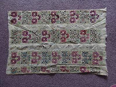 antique Victorian hand embroidery and lace panel
