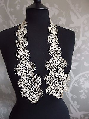 antique handmade Maltese lace lappet scarf