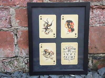 Sailor Jerry Framed Spiced Rum Playing Cards Clubs Tattoo Studio Vintage Flash