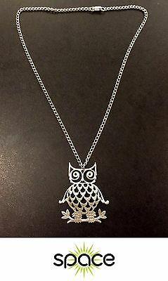 Vintage Reed & Barton Pewter Owl Necklace Retro Costume Jewelry Free Shipping