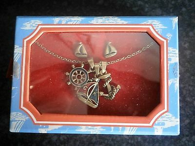 Rare Cath Kidston Brand New Enamel Nautical Charm Necklace And Earring Set