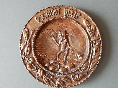 Vintage 1921 Cast Brass Dish Ashtray Exmoor Pixie Up To No Good Old