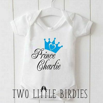 Personalised Prince with your Baby name Crown Baby Grow Vest Body Suit Romper