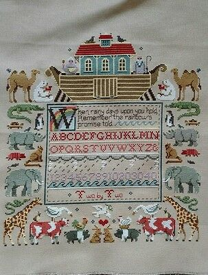 completed cross stitch Noah's ark with animals