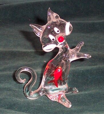 Art Glass Sylvester Cat With Goldfish Inside Belly - Excellent Condition
