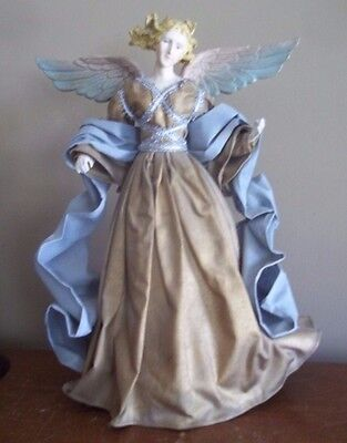 "16 ""ANGEL victorian CHRISTMAS decoration NATIVITY ORNAMENT CRECHE DOLL gold blue"