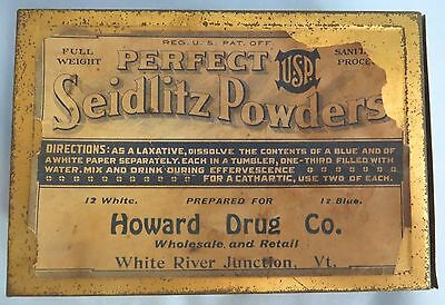 Antique Seidlitz Laxative Powders Tin Howard Drug Co. White River Jct Vermont