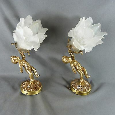Lovely Pair of French Vintage Bronze Putti Angel Rose Candle Wall Sconces Lights