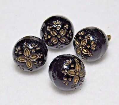"""Set of 4 ANTIQUE Black Glass CHARMSTRING Buttons VICTORIAN GOLD FLOWER 1/2"""""""