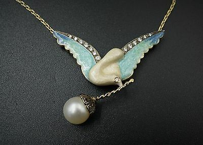 "Art Nouveau 18k Yellow Gold Enamel Grisaille Dove Diamond Necklace 18"" NG367"