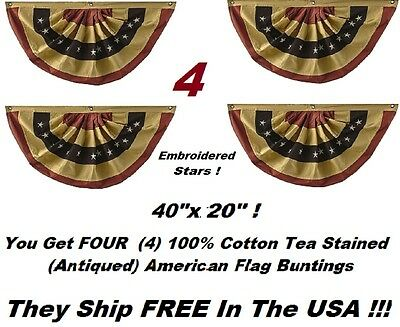 "4 - Tea Stained American Flag Cotton Embroidered Stars BUNTING  Banners 40""x20"""