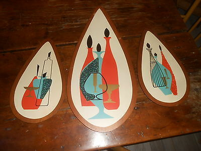 Mid Century Modern 3 Pc Wall Hanging Gravel Pebble Art Illinois Moulding Company