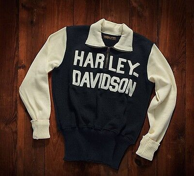 Authentic Harley Davidson Wool Racing Sweater Hand Stitched Lettering