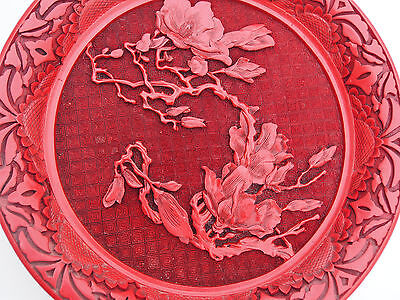 """Fine Antique Cinnabar Multi Layer Red Lacquer Sunflowers Peony Flowers Plate 9"""""""