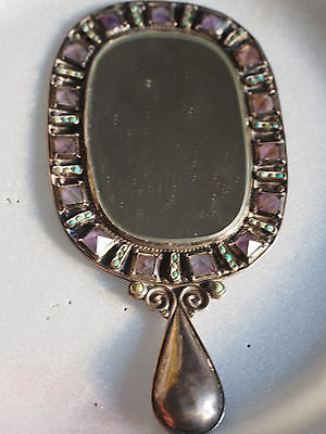 1950's MATILDE POULAT Sterling Silver Amethysts Turquoise Gemstone Mirror Frame
