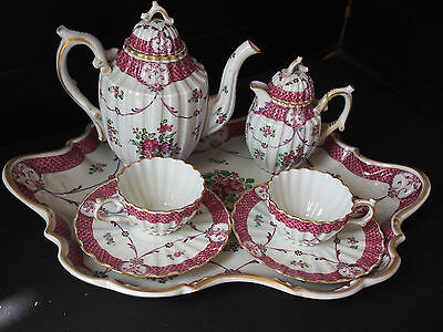 Set Antique 19th c Samson French Pink Shell Tray Teapot Creamer Cups Saucer 9 pc
