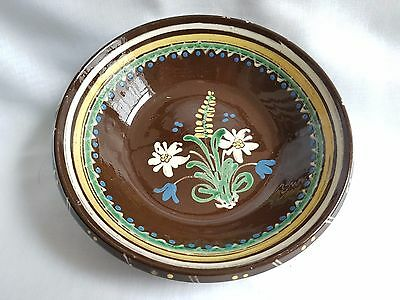 Vintage Pottery Bowl - Slipware Decoration