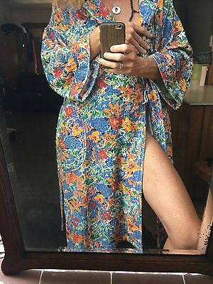 Vintage Judy Ken Done Printed Terry Towel Gown Robe 80s Floral 100% Cotton