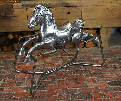 Childs Vintage Polished Tin Rocking Horse retro
