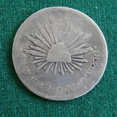1842 4 Reales Mexico silver Coin Zs OM Caps & rays