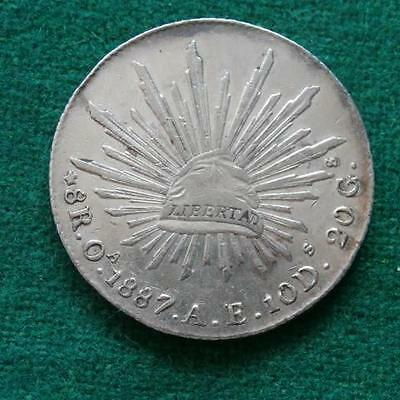 1887 Mexico Silver 8 Reales Mexican Oa AE radiant cap Great Condition.