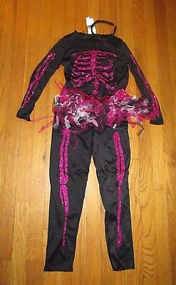 Girl's Halloween Costume - Skeleton - Tutu - Size M - Pink And Black - 3 Pieces
