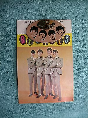 """Beatles 1964 Unused 2"""" Oval Leather w/ Brass Pin On w/ Display Card Rare"""