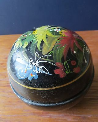 Black lacquered and painted trinket box - REDUCED