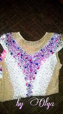 Made To Measure Rhythmic Gymnastic Leotard White Mix colors 4500+ crystals