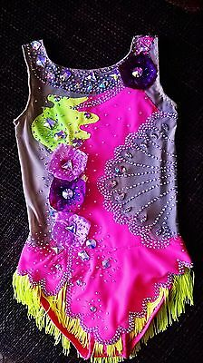 Made To Order  RHYTHMIC GYMNASTIC Leotard Bright Pink 2500 crystals, any size