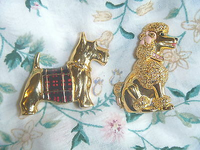 2 Estee Lauder Solid Perfume Compacts French Poodle &  Scottie Dog Animals