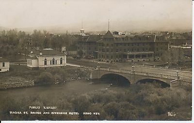 Rppc Reno,nevada 1907-1918 Public Library, Virginia St. Bridge,riverside Hotel