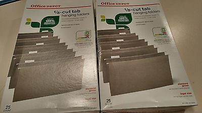 New 25 Pack Legal Size Hanging File Folders 1/5 Office Depot (2 Boxes - 50 count