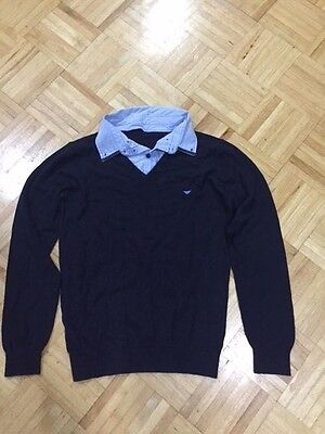 Boy's Armani Junior Knit Cotton/wool Collar  Logo Navy Sweater Size 16A