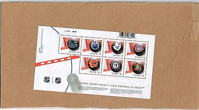 2013  Canada Post NHL  hockey stamps  Team logo puck - sheet of 7 x 63c stamps