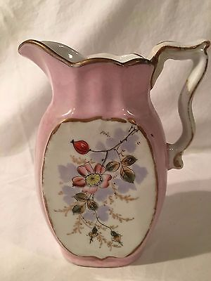 Antique Small Pink Pitcher with Floral Design on Both Sides