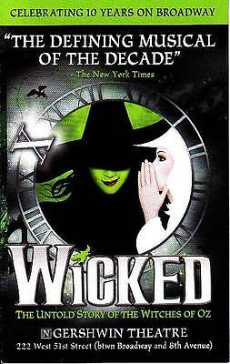 Wicked Flyer Ad Broadway 2014 Nyc New York City Untold Story Of Witches Of Oz