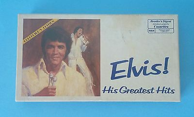 Rare Elvis Presley Greatest Hits Set of 3 Cassettes in Box with Book Complete !