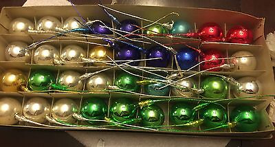 Vintage Christmas Lot of 36- 1.5 inch Mercury Glass Ball Ornament Floral Picks