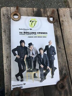 "Rolling Stones Poster Robin Hood Benefit concert poster 2006 RARE 17"" Scarce"
