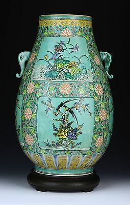 A Big Chinese Antique Famille Rose Porcelain Zun, Qing Dynasty