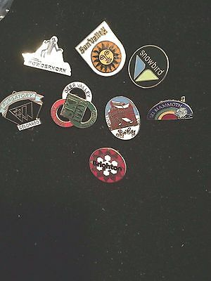 Lot of 8 Enameled Ski Resort Pins Assorted Collection Excellent