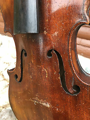 Antique Old American Violin For Restoration, Hand Written Label