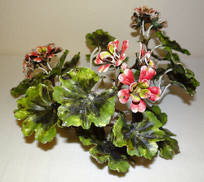 Italian Tole Painted Floral Geranium Candle Holder