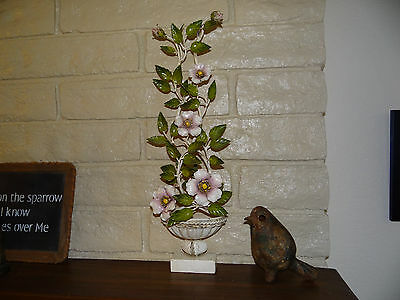 RARE and FAB ITALIAN TOLE POTTED WILD ROSES ESPALIER