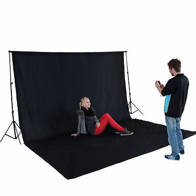 Black background for photo session chroma, with stand included and cover