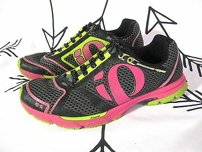 Women's IQ PEARL IZUMI KISSAKI RUNNING SHOES Black Pink Size 9.5 Energy Trainers
